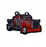 Embroidered Iron-On Patch; Red Racing Truck / 9 x 5,5cm