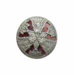 Metallist, antiikhõbedane, reljeefse mustriga, kannaga nööp 20mm, 30L