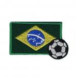 Triigitav Aplikatsioon; Jalgpall ja Brasiilia lipp/ Embroidered Iron-On Patch / 7,5x4,5cm