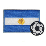 Embroidered Iron-On Patch; Argentinian Flag with Football / 7 x 4,5cm