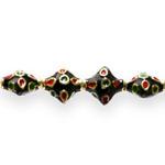 Värvilised, maalitud kandilised lapikud cloisonne metallhelmed 11x 11x 6mm