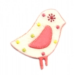 Triigitav Aplikatsioon; Lilleline tibu / Embroidered Iron-On Patch; Chick with Flowers / 7 x 6cm