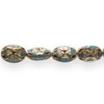 Värvilised, maalitud ovaalsed lapikud cloisonne metallhelmed 15x 11x 7,5mm