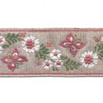 37.Pael roosade liblikate ja valgete lilledega