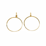 Textured Round Loop Earring Ear Wire, Closable Clasp / 37 x 26mm