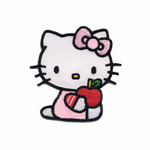 Embroidered Iron-On Patch; Hello Kitty with Apple / 6 x 5cm