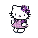 Embroidered Iron-On Patch; Hello Kitty with Purple Dress / 6,5 x 5cm