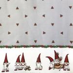 Jõuluteemaline, päkapikkudega laudlinakangas 140cm, 05213-04