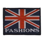 Embroidered Iron-On Patch; UK Flag, `Fashions` / 9 x 7cm