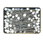 Round Glass Head Pins; 80pc / 50 x ø0,76mm / Pony (India), 26602