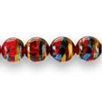 Ümarad värviliste pärlmuttertoonidega pintseldatud klaashelmed 14mm