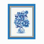 Tikkimiskomplekt firmalt Riolis  839 Sinised roosid vaasis