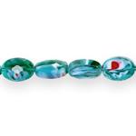 Ovaalsed lapikud klaashelmed segatud värvitoonidega 14x10x7mm