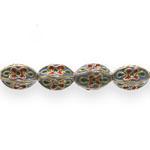 Värvilised, maalitud ovaalsed tahulised cloisonne metallhelmed 14,5x10mm