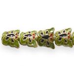 Värvilised, maalitud liblikakujulised lapikud cloisonne metallhelmed 13x 10x 5,5mm