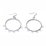 Round Loop Earring Ear Wire with Eyelets; 2pc / 35mm