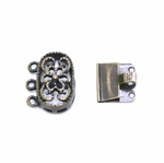 Oval Box Clasp with Floral Pattern, 3 Eyelets / 14 x 10mm