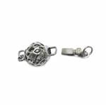 Spherical Box Clasp with Antique Pattern, 15 x 8mm