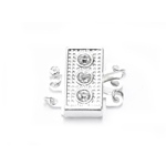 Rectangular Box Clasp with Gems, 3 Eyelets / 18 x 9 x 4mm