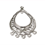 Ornamental Droplet Pendant with Eyelets / 33 x 20mm