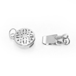 Round Box Clasp with Antique Pattern / 15 x 8mm