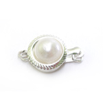 Round Box Clasp with Pearl / 15 x 10mm