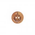 Naturaalne kookosnööp, lakitud pinnaga, arhailise mustriga keskelt kausjas 23mm, 36L
