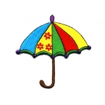 Embroidered Iron-On Patch; Rainbow Umbrella / 8,5 x 8cm