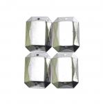 Metallilaadsed, tahulised plastikust dekoratiivkivid 18x14mm, 4tk pakis