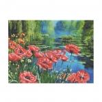 Наборы для вышивания нитками на канве с фоновым рисунком СD3032 Poppies on the Pond/ НОВАЯ СЛОБОДА
