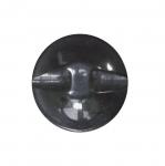 Must, läikiv laineline, kannaga nööp ø23 mm, suurus: 36L