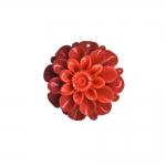 Värvilised sünteetilisest korallist lameda põhjaga lillekujuline kamee 32x32x16mm