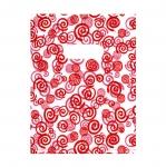 Valge, punasemustriline plastikkott/ Red Pattern White Plastic Bag / 25 x 20cm