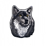 Triigitav Aplikatsioon; Väärikas hunt / Embroidered Iron-On Patch; Dignified Wolf / 9 x 7,5cm