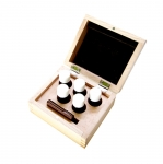 Tester bottle (emty, 15cl, 5ps), testing stone in solid wooden box, Technoflux