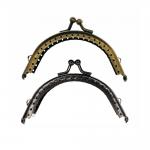 Twin hinged metal interchangeable bag frame, bag fastening, 8,5cm