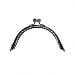 Twin hinged metal interchangeable bag frame, bag fastening, 10,5 cm