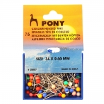Coloured Round Head Push Pins; 75pcs, 34 х ø0,65mm, Pony 28807