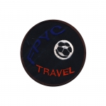 Embroidered Iron-On Patch; Soccer Ball, `FPYC Travel` / 9,5cm