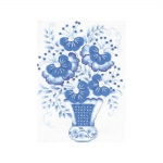 Tikkimiskomplekt Sini-valged lilled vaasis Art.1366 firmalt Riolis