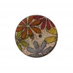Naturaalsed kookosnööbid, kirju, värvilise lillemustriga 30mm, 48L