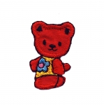 Triigitav Aplikatsioon; Mõmmi, lillelise pluusiga/ Embroidered Iron-On Patch; Teddy Bear 4x2,5cm