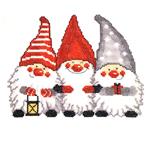 Jõuluteemaline tikkimispilt kolme muheda päkapikuga / Art. 8013 / Duftin