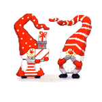 Jõuluteemaline tikkimispilt päkapikkude ja kingivirnaga / Art. 8012 / Duftin