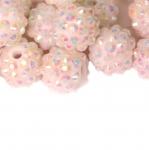 Plastikkristallidega kaetud ümarad helmed 14mm