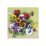 Cross-Stitch Kit Riolis 0059 PT Pansies. Satin Stitch