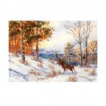 Набор для вышивания крестом Art.1528 Лось в зимнем лесу по мотивам картины В.Л.Муравьева