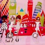 Suurlinnamelu ja popid tüdrukud, trikookangas 3836