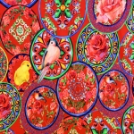 Luksusliku lille- ja linnuornamendiga trikookangas kupongina 150cm x120cm Art.4876