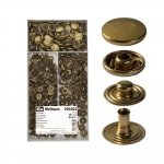 Press Buttons s-spring, brass made, ø15 mm, 100 pcs set, old brass, Prym Multipack 390262
